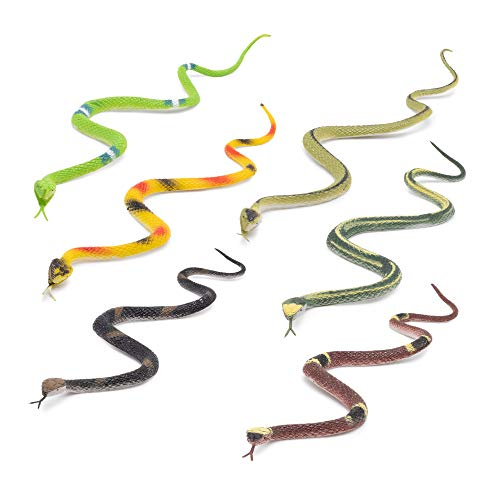 Fun Central 12 Pack - 14 inch Rubber Snake Toys for Kids - Assorted Pack
