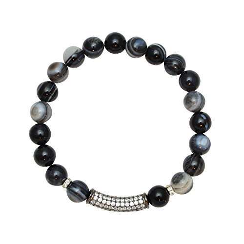 Just Give Me Jewels 8mm Zebra Agate Beads with Rhodium Plated Pave CZ Bar - Stretch Bracelet