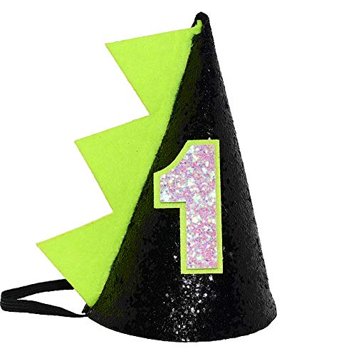 Maticr Glitter Dinosaur 1st Birthday Cone Hat Baby Boy Dinosaur Dragon Party Hat for Cake Smash First Birthday Party Supplies - Boy 1st Hat Cone Birthday