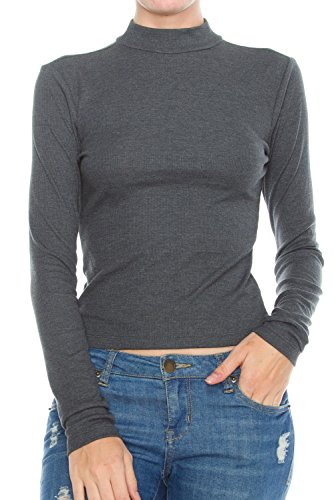 KLKD Women's Ribbed Mock Neck Long Sleeve Knit Crop Top Charcoal Grey Medium