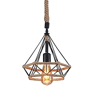 Wideskall Industrial Hemp Rope Metal Frame Pyramid Cage Hemp Rope Hanging Pendant Ceiling Light 1-Bulb Lighting Fixture, UL Certificated