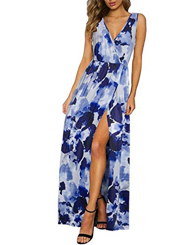 (KILIG Women's Sexy Deep V-Neck Sleeveless Floral Print Split Maxi Dress with Pockets(Floral,M))