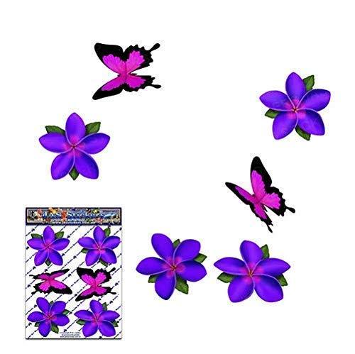 Fiore singolo viola Frangipani Plumeria Pack Adesivi Stickers auto - ST00041PL_SML - JAS Adesivi