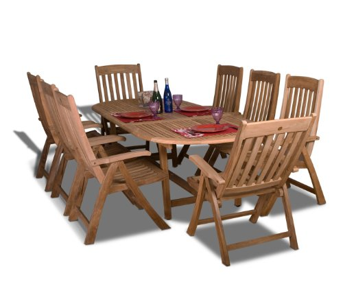 Amazonia Teak Belfast 9-Piece Teak Oval Dining Set - Amazonia Teak Collection 1 Oval Extendable Table 39Wx71Lx29H Extended Length:95, 8 Position Chairs 26Wx24Dx43H. Seating Dimensions:20Wx18Dx18H. High Quality Teak Wood (Tectona Grandis) - patio-furniture, dining-sets-patio-funiture, patio - 41lWJoGNhhL -