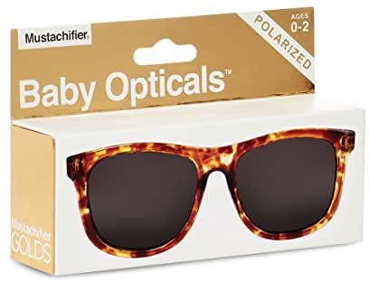 Hipsterkid BPA Free, Warranty Protected, Polarized Sunglasses for Babies, Ages 0-2, in Tortoise Shell from the Golds Collection
