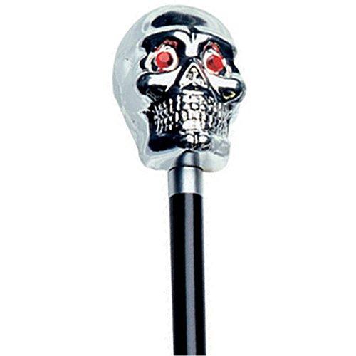 48-Inch Skull Walking Cane - Silver
