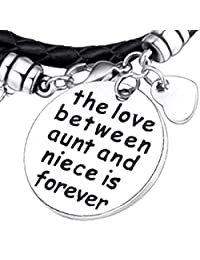 Deal Love Between Aunt and Niece is Forever Bracelet | Aunt and Niece Gift | Expandable Charm Bracelet Aunt Niece Jewelry | Christmas & Birthday Gift