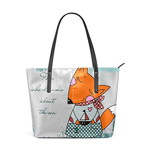COOSUN Fox que sueña con el mar de la PU de cuero bolso monedero y bolsos de la bolsa de asas para las mujeres Medio muticolour