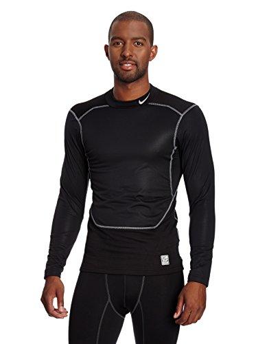 Nike Men's Pro Combat Hyperwarm Fitted Shield Neck 2.0 Shirt, Black/Grey (Large)