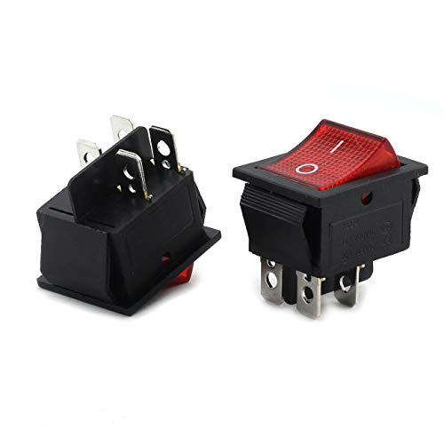 Longdex 2pcs AC 250V 16A ON/OFF Boat Rocker Switch Small Appliances Power Switch 2 Position I/O 4Pin DPST Red Button Switch with Light