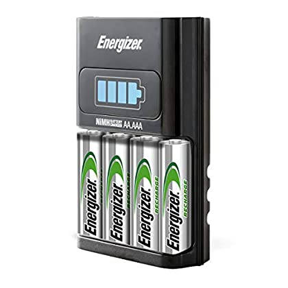Energizer Recharge Basic Charger with 2 AA NiMH Rechargeable Batteries (Included) LED Indicator & Rechargeable AA…
