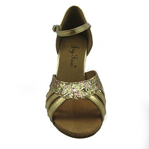 """Jig a sandalias Foo Fighters Open-toe Latina Salsa Tango salón de baile zapatos de baile para las mujeres con 2,7""""talón"""