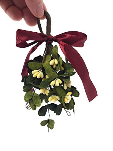 Artificial Hanging Christmas Mistletoe Decorative Ornament Bouquet for Holiday Home Decor, Kissing Ball, Kiss Me Under, Christmas Party Decorations, Hostess Gift, Stocking Stuffer, Handmade, 5 Inch