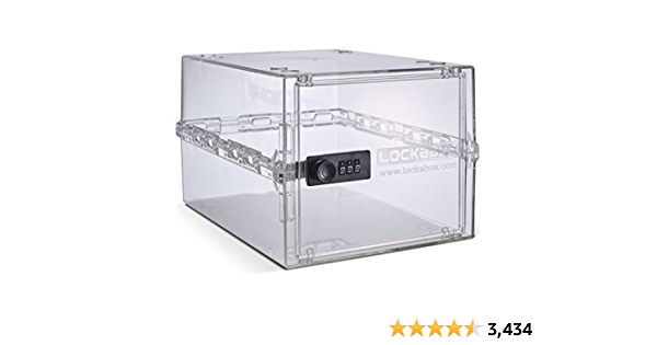 Lockabox One   Compact and hygienic Lockable Box for Food, Medicines and Home Safety   One Size 12 x 8 x 6.6 inches (Crystal)