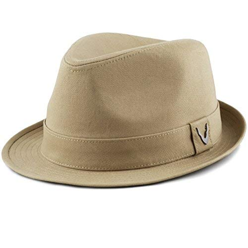 THE HAT DEPOT Black Horn Unisex Cotton Wool Blend Herringbone Trilby Fedora Hats (Large, Cotton- Khaki)