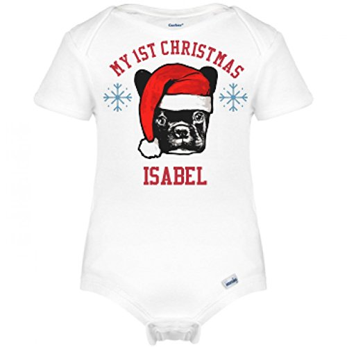 funny-isabel-1st-christmas-santa-dog-infant-gerber-onesies