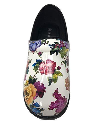 - Rasolli Women's Professional Closed Back Clogs, Flower Power, White, Size 11