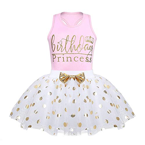 - LOliSWan Toddler Kids Baby Girls Outfits Brithday Princess Vest Sleeveless Top +Dot Bubble Skirt Summer (Pink, 3T)