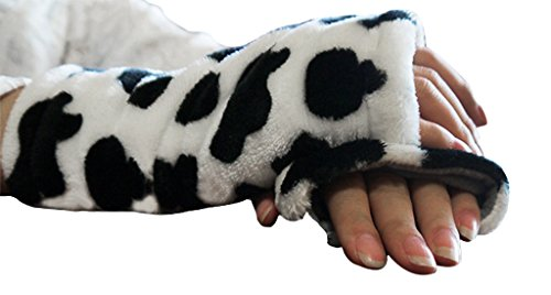 Winter Warm Soft Fingerless Gloves Lovely Cute Plush Half Finger Gloves Mittens Warmer for Women Ladies Girls, Great Christmas/New Year/Velentine's Gift Black White Cow