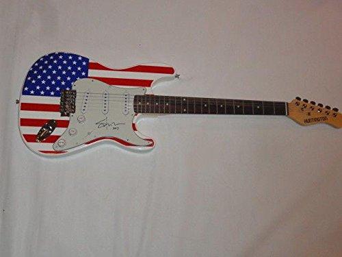 (Shooter Jennings Signed Usa Flag Electric Guitar Country Waylon Proof Coa - JSA Certified)