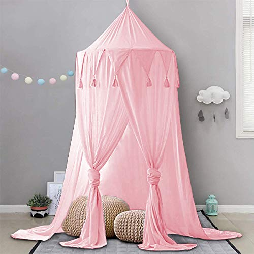 Dix-Rainbow Bed Canopy Lace Mosquito Net Unique Pendant Play Tent Bedding for Kids Playing Reading with Children Round Dome Netting Curtains Baby Boys Girls Games House - Pink