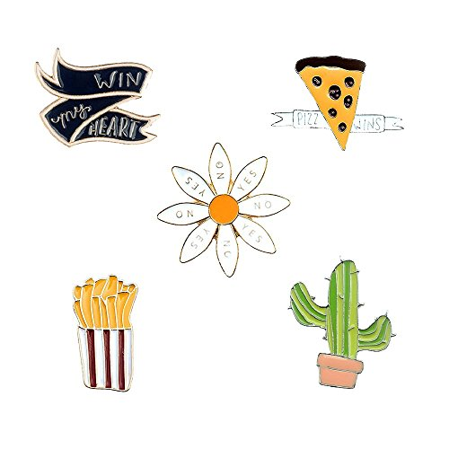 Assorted Enamel - Herinos 5Pcs Cartoon Enamel Pins Set Badges Lovely Lapel Brooch Ribbon Cactus Chips Caisies Pizza