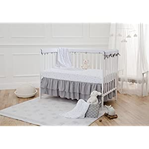 American Baby Company 100% Natural Cotton Muslin Swaddle Blanket, Gray Stars/Moon, 47″ x 47″, Soft Breathable, for Boys and Girls