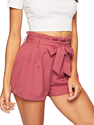 SweatyRocks Women's Casual Elastic Waist Seft Tie Summer Beach Shorts with Pockets Pink X-Large