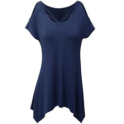 Courte Manche Rond t Hors Femme Bleu T Chemise shirt Col Newbestyle paule O7EtaxvqEw