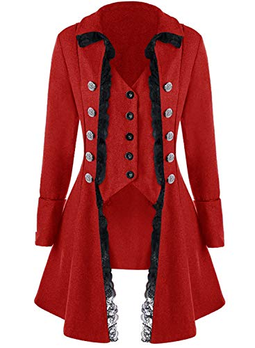 Women's Gothic Steampunk Corset Halloween Costume Coat Victorian Tailcoat Jacket (M, red)
