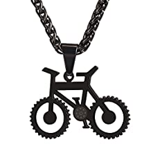 U7 Fashion Stainless Steel Bicycle Bike Pendant Necklace with Resizable Chain