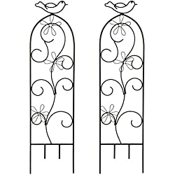 "Hosley Set of 2 Iron Wave Pot Trellis- 28"" High. Ideal Gift for Wedding or Party and Use Next to Structures (Home or Office) or in Planters for Growing Floral, Plants, Vines and Vegetables O4"