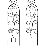 "Hosley's Set of 2 Iron Wave Pot Trellis- 28"" High. Ideal Gift for Wedding or Party and Use next to Structures (home or office) or in Planters for Growing Floral, Plants, Vines and Vegetables O3"