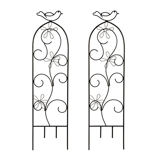 """Hosley Set of 2 Iron Wave Pot Trellis- 28"""" High. Ideal Gift for Wedding or Party and Use Next to Structures (Home or Office) or in Planters for Growing Floral, Plants, Vines and Vegetables O4"""