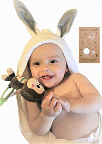 Little Love Munchkin Organic Bamboo Baby Bath Towel and Washcloth set- Cute Bunny ears -Antibacterial and Hypoallergenic-For newborns and toddlers-Perfect Unisex Baby Gift- Baby Registry Gift Set