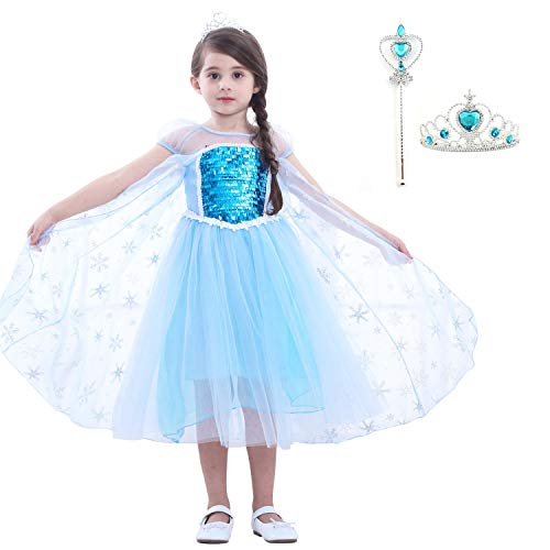 GALLDEALS Princess Elsa Costume for Girls Sequin Mesh Party Dress, with Tiara, Wand]()