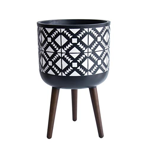 12 Inch Planter Pot with Stand, Mid-Century Tall Plant Pot with Legs for Indoor Plants, Large, Charcoal Grey/White, 88…