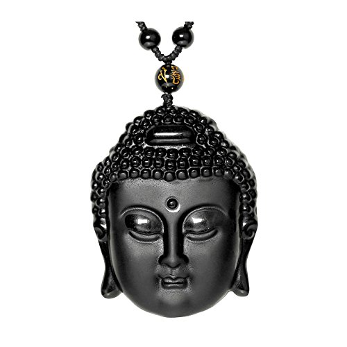 Top Plaza Hand Carved Natural Genuine Obsidian Talisman Patron Saint Buddha Head Pendant Adjustable Woven Rope Beads Necklace Amulet Hanging Ornament #1 ()