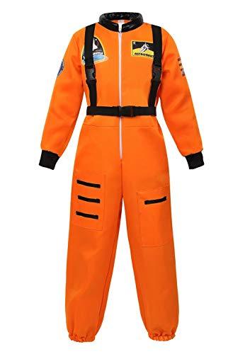 jutrisujo Astronaut Costume for Kids Space Suit Jumpsuit Role Play Costume Boys Girls Teens Toddlers Children's Orange L -