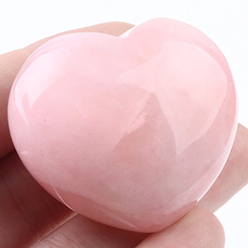 Platonic Heart (rockcloud Healing Crystal Natural Rose Quartz Heart Love Carved Palm Worry Stone Chakra Reiki Balancing)