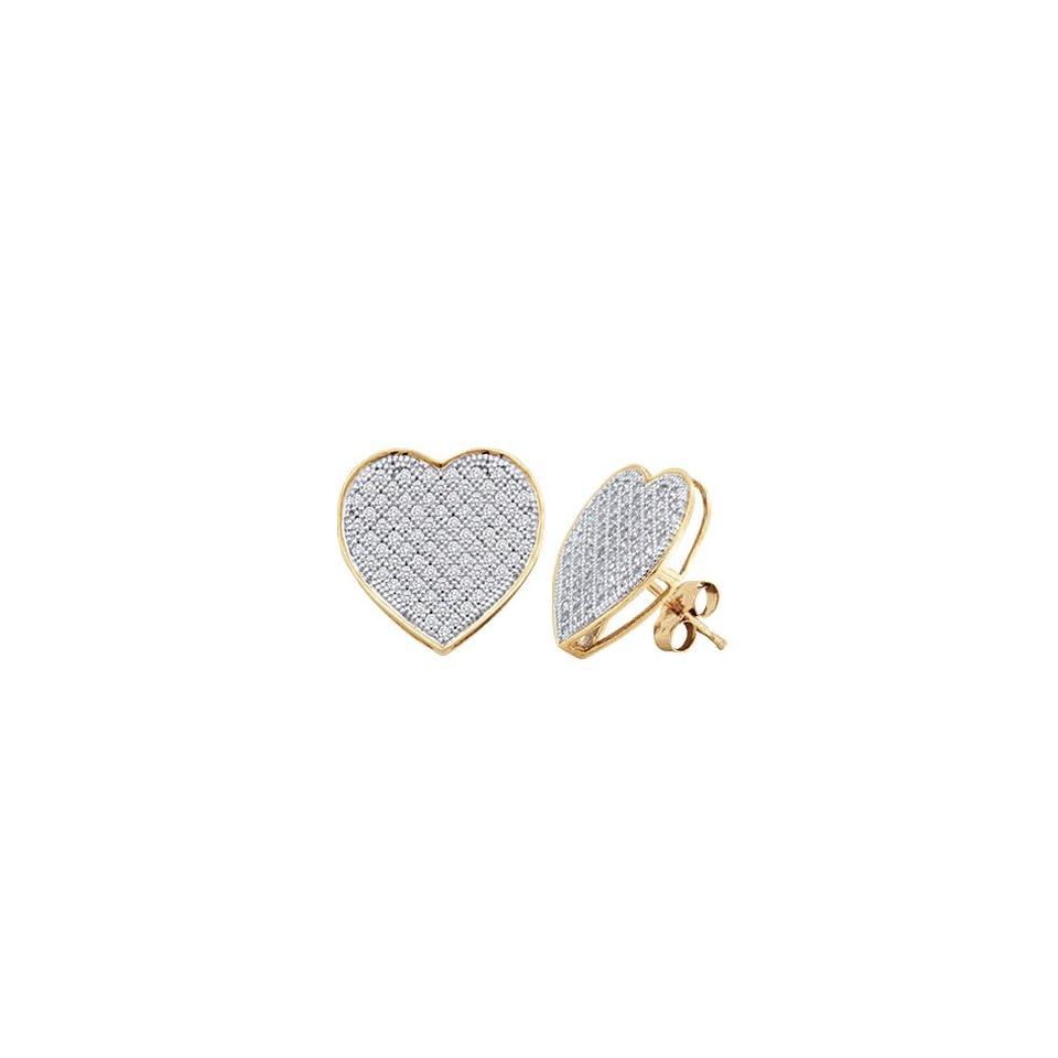 Diamond Heart Earring Studs 10k White Yellow Gold Micro Pave (1/4 CTW) Jewelry