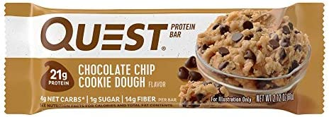Quest Nutrition Chocolate Chip Cookie Dough Protein Bar, High Protein, Low Carb, Gluten Free, Soy Free, Keto Friendly, 12 Count 5