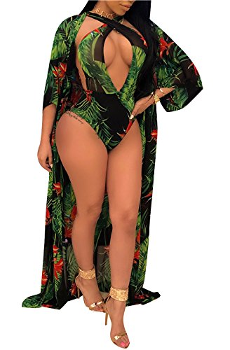 3 Piece Bikini (FEIYOUNG Women Sexy Three Pieces Tops Bottoms and Floral Cover-ups Summer Beach Swimsuits (Large, 2PC-Green))