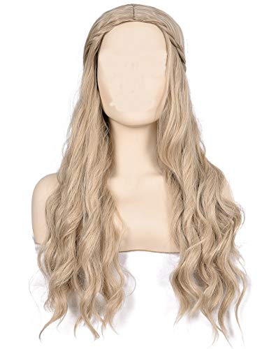 Morvally Long Wavy Curly Natural Synthetic Hair Wigs for Bride Buttercup Hlloween Cosplay Costume Wig ()