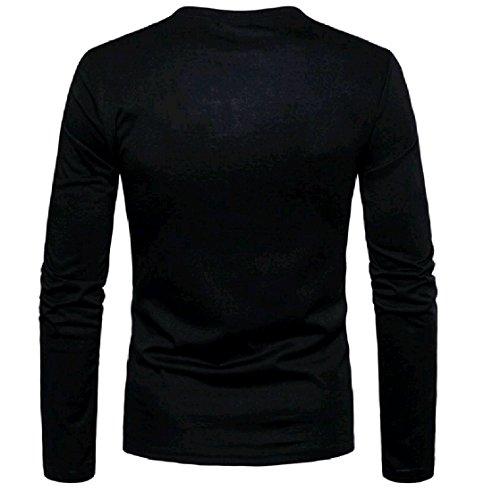 Sleeves Camo Print Men's Pullover Shirt Henley EnergyMen Green Long wIU7qPT4x