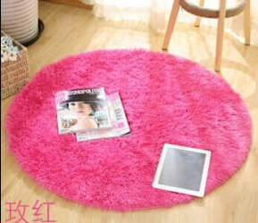 SVI Top Finel Hot High Quality Floor Mats Modern Shaggy Round Rugs and Carpets for Living Room Bedroom Carpet Rug for Home Yoga Mat red 80cmx80cm
