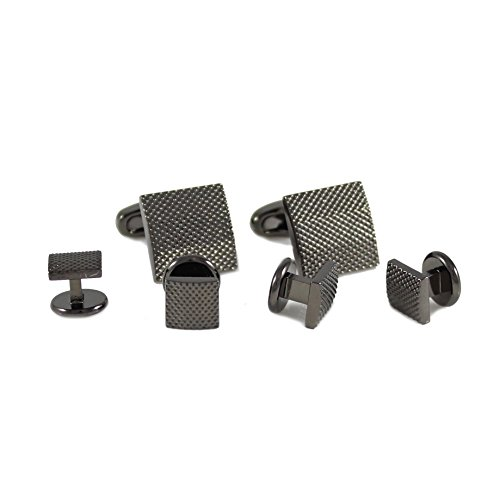 MENDEPOT Classic Gunmetal Tone Micro Dots Square Cuff Link And Shirt Studs Formal Wear Set With Box Pin Dots With Slope Sides Cufflink and Studs Suit Set (Formal Dot Pin)