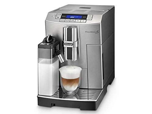 Delonghi super-automatic espresso coffee machine with an adjustable grinder, double boiler, milk frother, maker for brewing espresso, cappuccino, latte, macchiato. ECAM28465MB PrimaDonna
