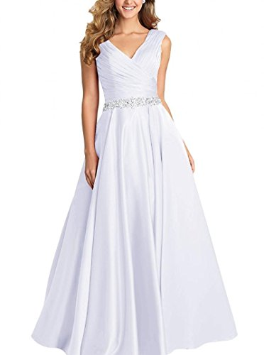 Dannifore White V-Neck Pleated Satin Prom Dress Beaded Long Formal Evening Gowns for Women Size 16