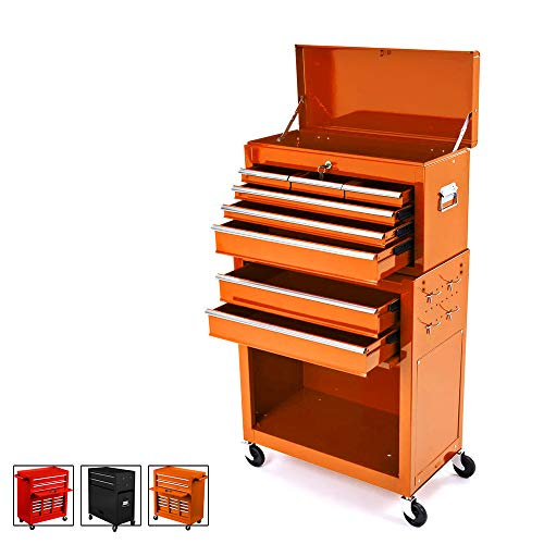 Big Tool Chest,Removable 2 in 1 Tool Box,8-Drawer Tool Storage,Detachable Tool Chest with 4 Universal Wheels (2 PCS Lockable),Keyed Locking System Toolbox Organizer,Orange